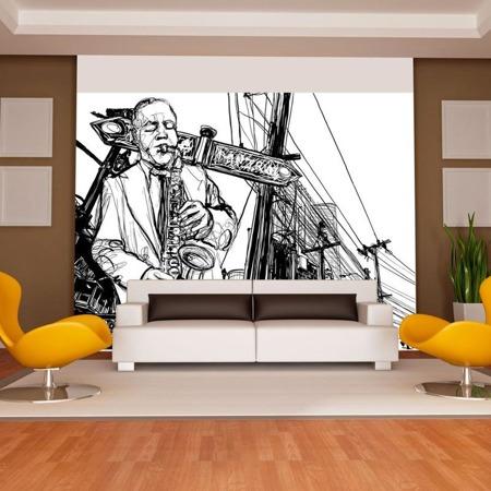 Fototapeta - Saxophone recital on Broadway