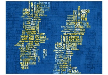 Fototapeta - Text map of Sweden (yellow color)