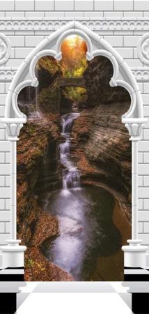 Fototapeta na drzwi - Tapeta na drzwi - Łuk gotycki i wodospad
