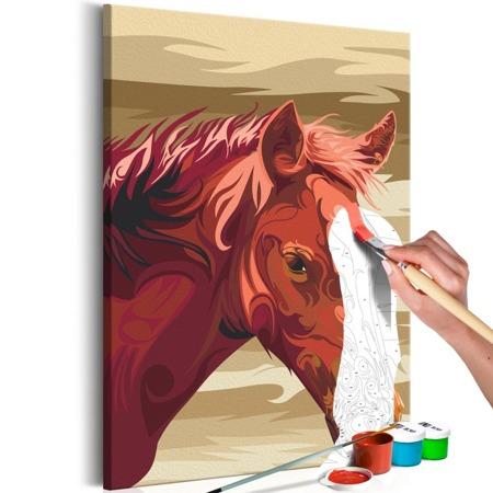 Obraz do samodzielnego malowania - Gniady koń