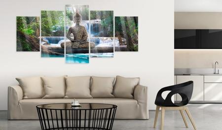 Obraz na szkle akrylowym - Budda i wodospad [Glass]