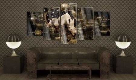 Obraz na szkle akrylowym - Złoty nosorożec [Glass]